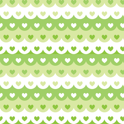 Hearts scallops (green) fabric by petitspixels on Spoonflower - custom fabric
