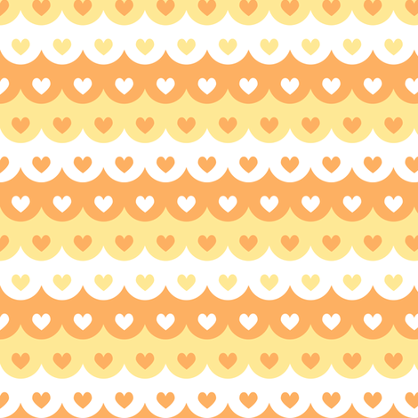 Hearts scallops (orange) fabric by petitspixels on Spoonflower - custom fabric