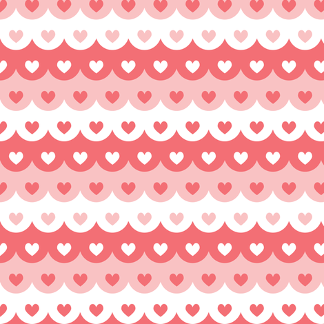 Hearts scallops (red) fabric by petitspixels on Spoonflower - custom fabric