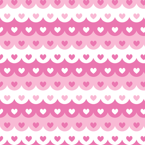 Hearts scallops (pink) fabric by petitspixels on Spoonflower - custom fabric