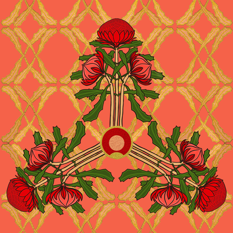 Formal waratahs by Su_G fabric by su_g on Spoonflower - custom fabric