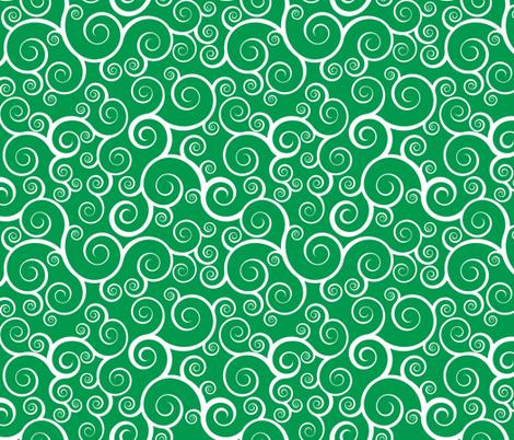 Fancy Swirls - Christmas Green fabric by shelleymade on Spoonflower - custom fabric