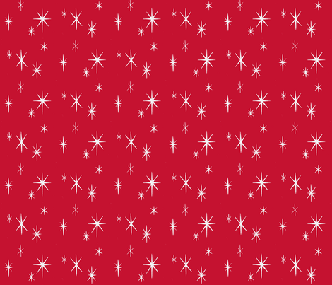 Mixers, Starbursts, white on red fabric by sophista-tiki_by_dawn_frasier on Spoonflower - custom fabric