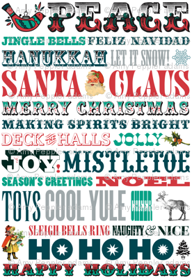 Making Spirits Bright || holiday christmas typography letterpress wood type festive