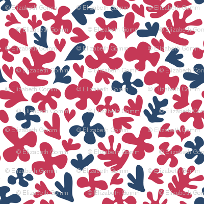 Matisse inspired fabric - blue & red