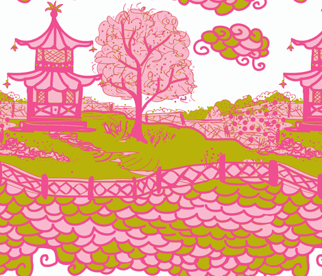 Cloud_Pagoda-apple/pink-ch fabric by danikaherrick on Spoonflower - custom fabric