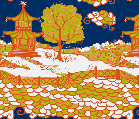 Cloud_Pagoda-acid/navy orange fabric by danika_herrick on Spoonflower - custom fabric