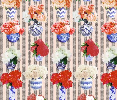 Ginger Jar Peony Blush and Grey Key fabric by danikaherrick on Spoonflower - custom fabric