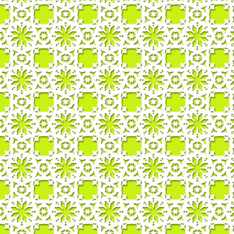 Lacy Daisy   -white on lime green fabric by fireflower on Spoonflower - custom fabric