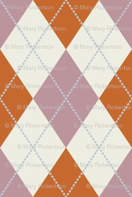Mauve, Rust, and Cream Argyle