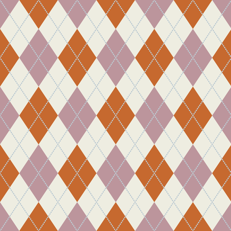 Mauve, Rust, and Cream Argyle fabric by jumeaux on Spoonflower - custom fabric