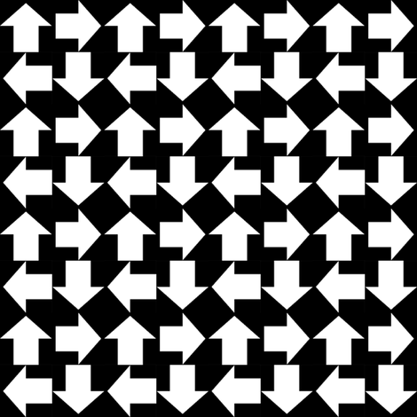 Arrows in a Square   -Black and White fabric by fireflower on Spoonflower - custom fabric