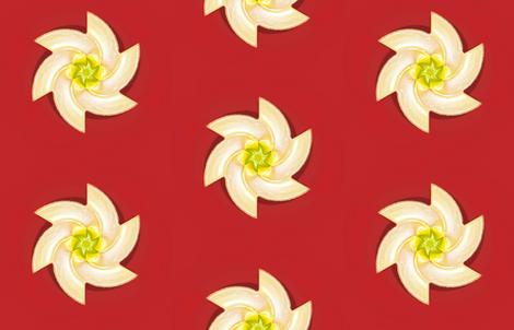 White Flower on Red fabric by fireflower on Spoonflower - custom fabric