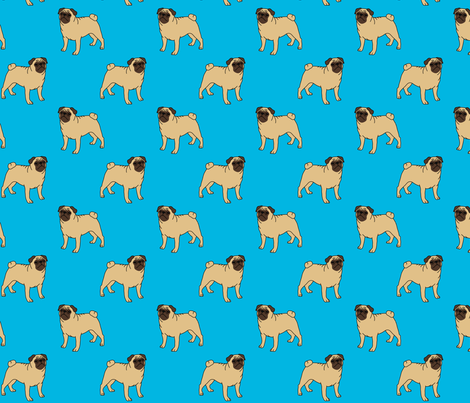 Pugs on turquoise fabric by darlingdearest on Spoonflower - custom fabric