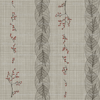 leaf and berry stripe on linen