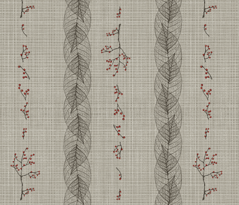 leaf and berry stripe on linen fabric by glindabunny on Spoonflower - custom fabric
