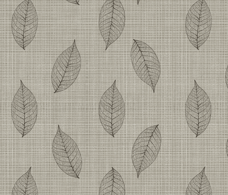 skeleton leaves on linen fabric by glindabunny on Spoonflower - custom fabric