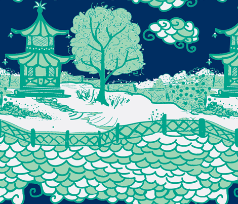 Cloud_Pagoda-midnight/emerald-ch fabric by danikaherrick on Spoonflower - custom fabric