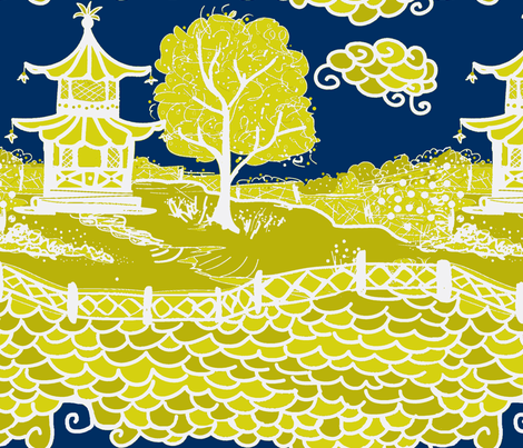 Cloud_Pagoda-midnight/acid fabric by danikaherrick on Spoonflower - custom fabric