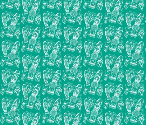 Tiki Holiday-turqoise fabric by sophista-tiki_by_dawn_frasier on Spoonflower - custom fabric