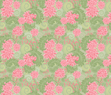 Flower_Fantasy_Pink-Green fabric by julistyle on Spoonflower - custom fabric