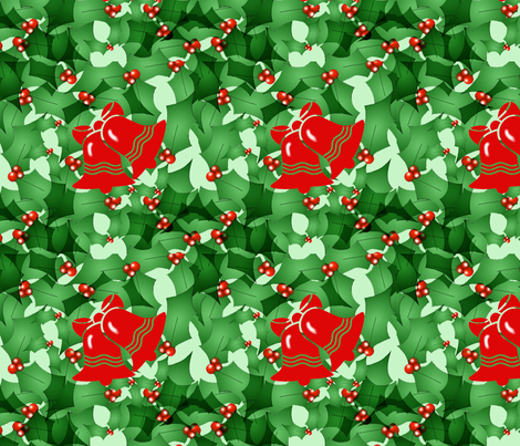 Bells and Holly fabric by dogdaze_ on Spoonflower - custom fabric