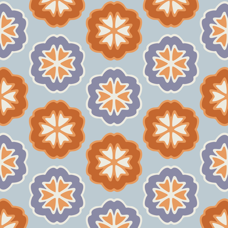 Flower Chevron Dark Orange and Dark Blue on Light Blue fabric by jumeaux on Spoonflower - custom fabric