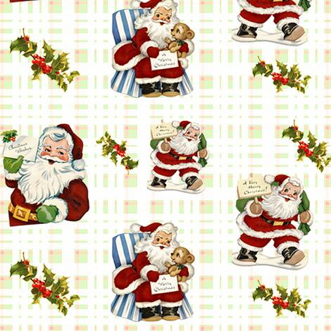 Vintage Santas fabric by tulsa_gal on Spoonflower - custom fabric