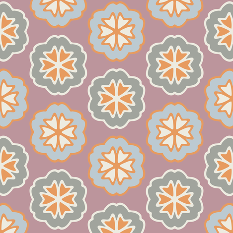 Flower Chevron Mauve and Gray fabric by jumeaux on Spoonflower - custom fabric