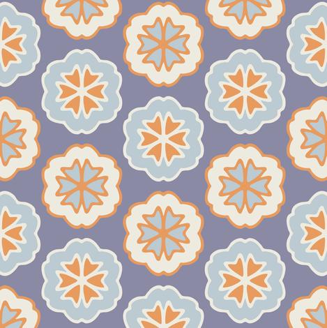 Flower Chevron Dark Blue fabric by jumeaux on Spoonflower - custom fabric