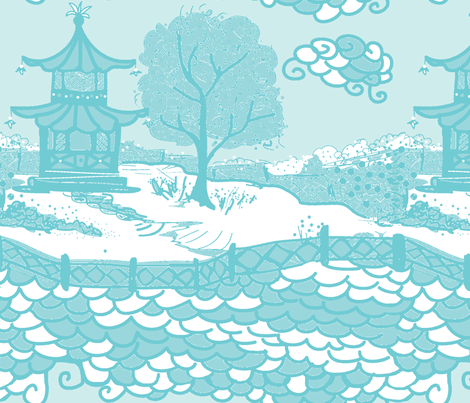 Cloud_Pagoda-aqua white ground fabric by danikaherrick on Spoonflower - custom fabric