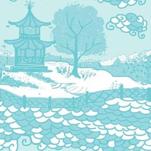 Cloud_Pagoda-aqua white ground