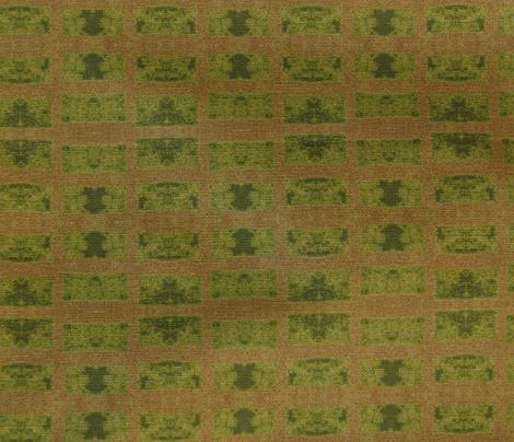 Old French Grain Sack, green leaf