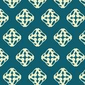 dimensional diamonds, light green on teal background