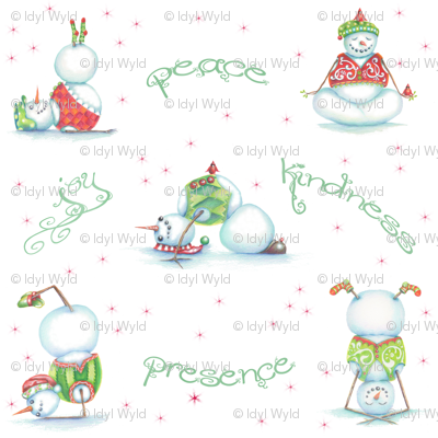 Yoga Snowmen Wrapping Paper