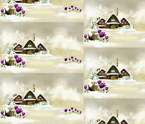 Artful_Dwelling_Christmas_House fabric by patricia_tisdale_parrott on Spoonflower - custom fabric