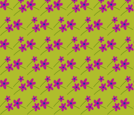 Purple Abstract Flowers on Olive fabric by pmegio on Spoonflower - custom fabric