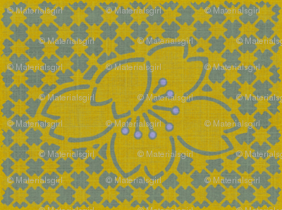 Plum Blossom Quilt - yellow and slate blue