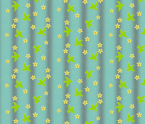 Hummingbirds-and-flowers fabric by hmooreart on Spoonflower - custom fabric