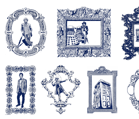 Timey Wimey Toile in   Blue fabric by ebinard on Spoonflower - custom fabric