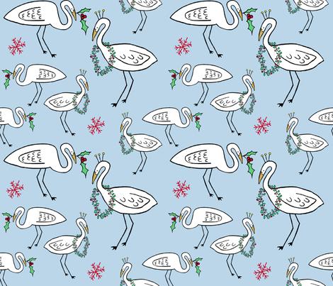 Christmas Cranes (sky blue) fabric by pattyryboltdesigns on Spoonflower - custom fabric