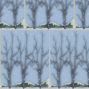 trees in th snow / blue