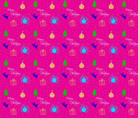 Pink Christmas fabric by tulsa_gal on Spoonflower - custom fabric