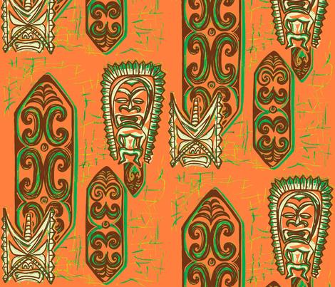 Old School,Nu Ku Gu Christie Coral-ch fabric by sophista-tiki_by_dawn_frasier on Spoonflower - custom fabric