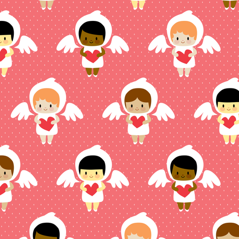 Kawaii angels (red) fabric by petitspixels on Spoonflower - custom fabric