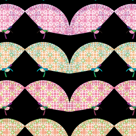 Fabric_fans_black fabric by vannina on Spoonflower - custom fabric
