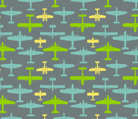 I Dream of Flying - grey fabric by ruthevelyn on Spoonflower - custom fabric