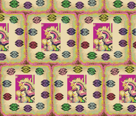 FANTASY CAROUSEL UNICORN PNKGOLD GEOFLORAL fabric by kaylah-marie on Spoonflower - custom fabric
