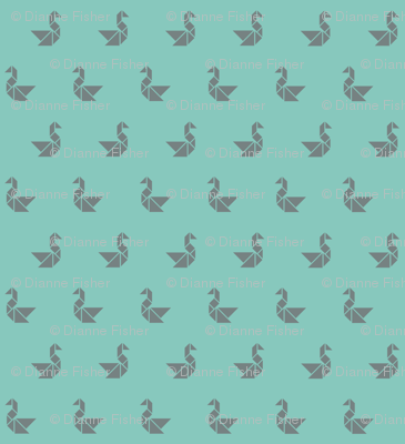 Tangram birds grey on aqua