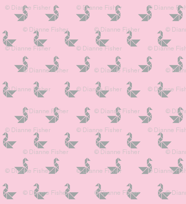 Tangram birds grey on pale pink